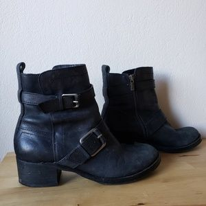Lucky Brand Black Buckle Moto Boots